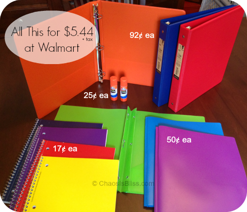 Walmart school supplies