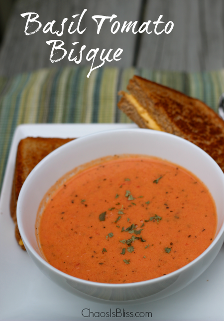 Easy Basil Tomato Bisque soup recipe you can make from home, just like in restaurants.