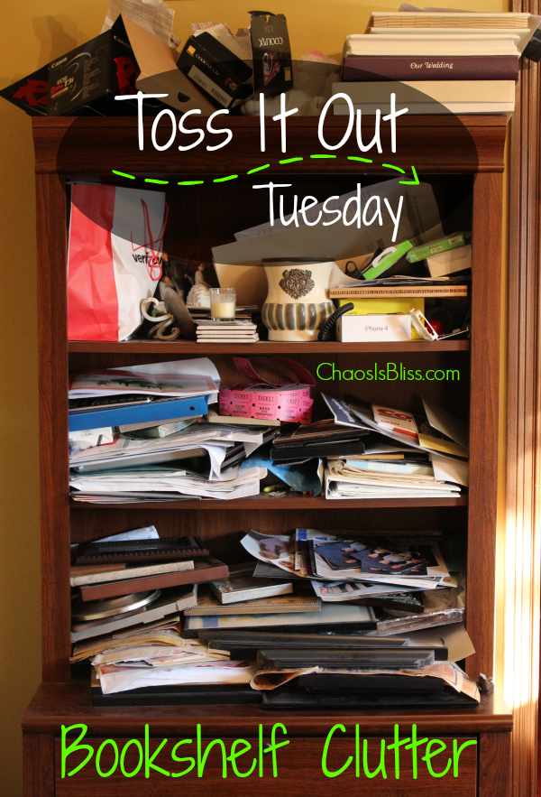 Do you have a bookshelf that's a cluttered mess? Here are easy organization tips to help you declutter with Toss It Out Tuesday!