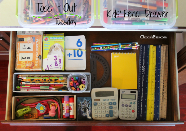 Quick & easy way to declutter a kids' pencil drawer, with this week's organization mission, Toss It Out Tuesday!