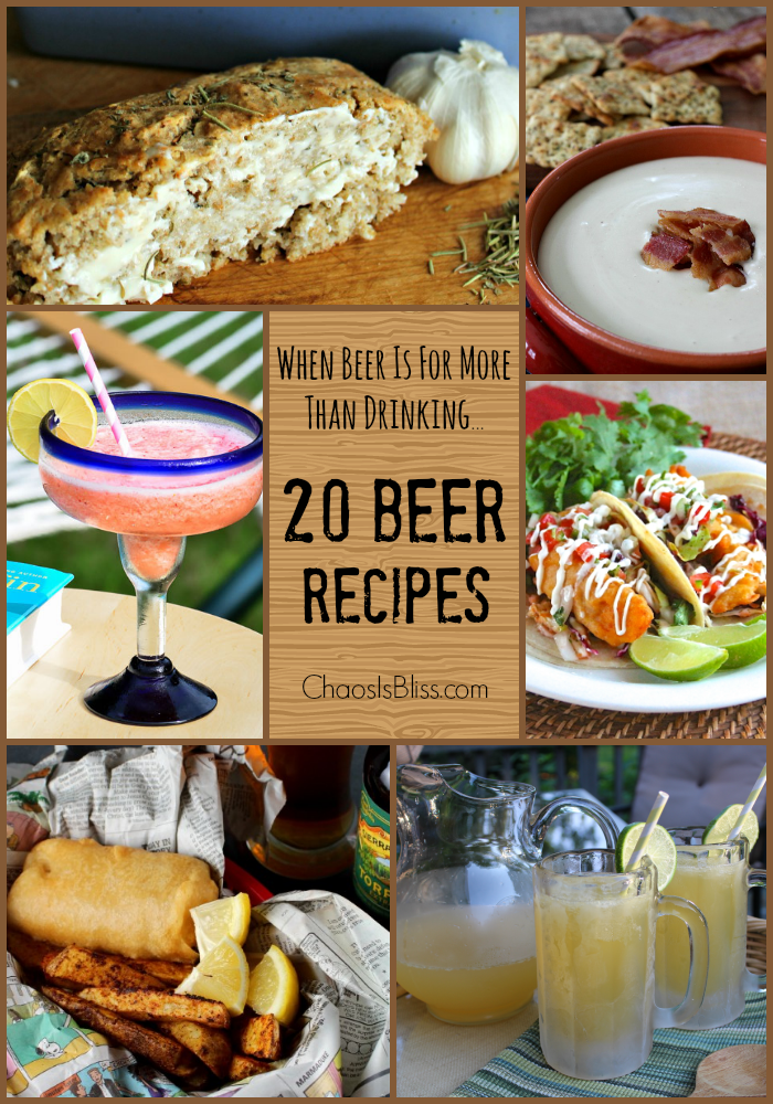 Cooking with beer and making beer cocktails are one way to liven up a recipe! Here are 20 Beer Recipes, because it's for more than just drinking!