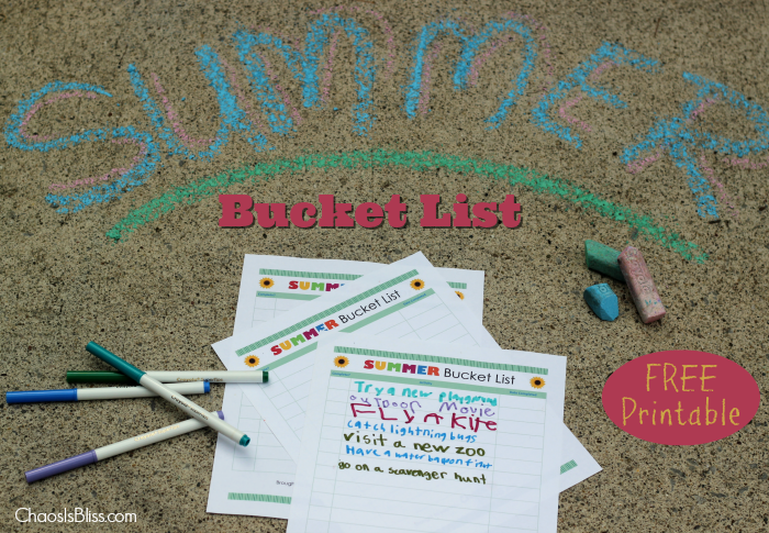 Free printable Summer Bucket List, for family fun all summer long!