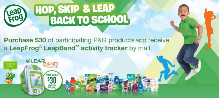 Get a free LeapFrog LeapBand with purchase of $30 or more in P&G products.