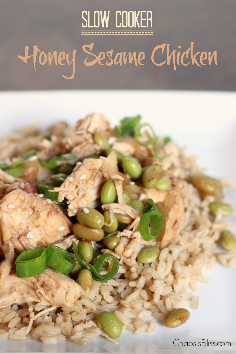 Not too spicy but full of flavor, this healthy slow cooker Honey Sesame Chicken recipe serves a crowd!