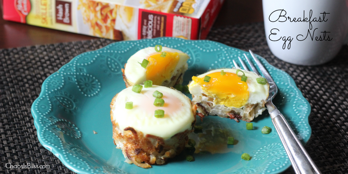 These Breakfast Egg Nests are a great breakfast recipe using hash browns, and they're fun for kids!